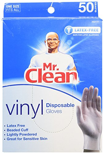 Price comparison product image MR. CLEAN Latex Free VINYL Disposable Cleaning Gloves with BEADED CUFF (50 Co...