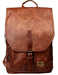 Zebella Unisex Vintage PU Leather Backpack School College Bookbag Laptop