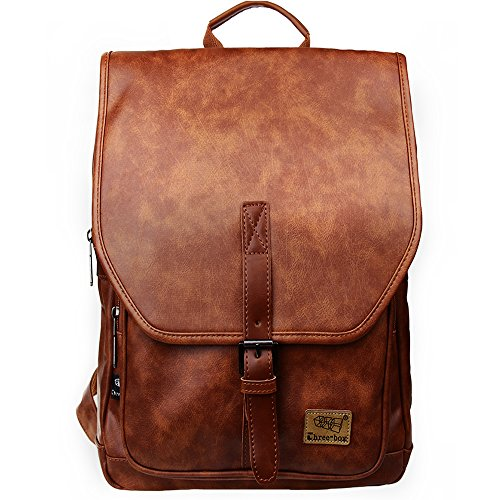 Zebella Women Vintage PU Leather Laptop Backpack School College Daypack Bookbag