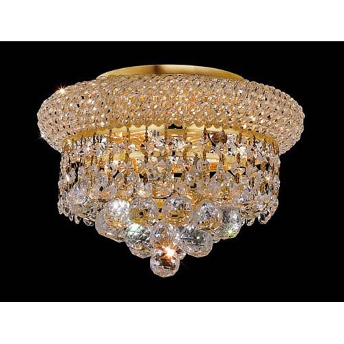 Elegant Lighting 1800F10G/RC Royal Cut Clear Crystal Primo 3-Light, Single-Tier Flush Mount Crystal Chandelier, Finished in Gold with Clear Crystals from Elegant Lighting