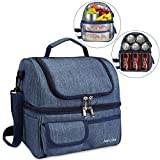 Janolia Adult Lunch Box, Insulated Lunch Bag, Large Cooler Tote Bag for Men, Women, Double Deck Cooler, Capable for 21 Cans of 330ML Coke At Most