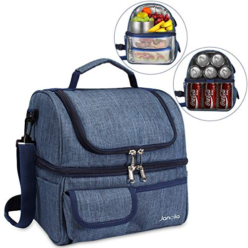 - Janolia Lunch Bag, Large Capacity Cooler Tote Bag for Men, Women, Double Deck Cooler, Capable for 21 Cans of 330ML Coke At Most ...