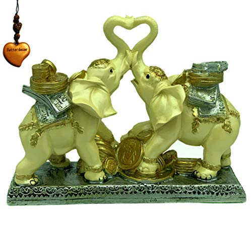 Betterdecor Feng Shui Trunk up Lucky Elephants with Treasure for Good Fortune Charm