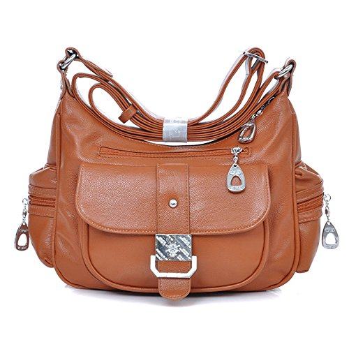 Bags Pockets Fashion Multiple Lady New Brown Shoulder Vintage Women Bags Messenger pYwqxAzU
