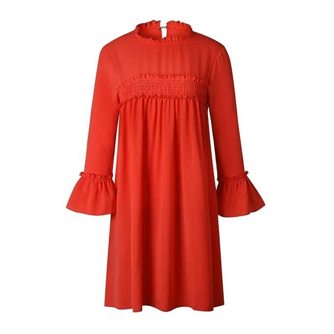 Siswong Vestidos Mujer de Fiesta Cortos Encaje Plisado Empalme Suelto Mangas con Volantes (Rojo,