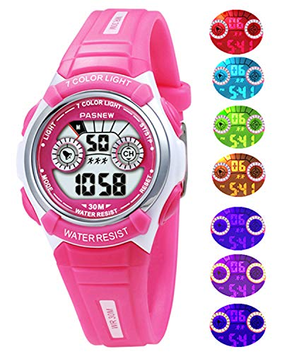 Kids, Boys, Girls,Waterproof Digital Led Sports Alarm for Childrens Age 4-12 Years Old Watches (Rose-red)