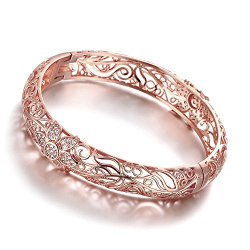 DILANCO 18K Rose Gold-Plated Creative Design Elegant Pattern Bangle Bracelet
