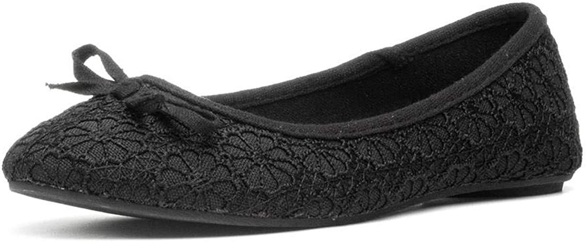 Lilley Womens Lace Ballerina in Black