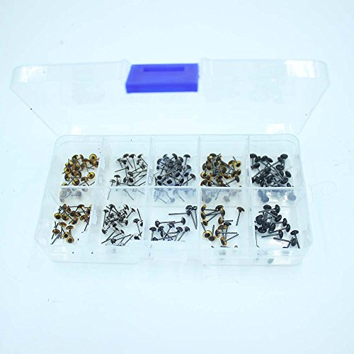 100 Pairs Glass Eyes Kits 5 Colors Mixed in One Box for for Needle Felting Bears Dolls Decys Sewing(20 Pairs Per Color) (4mm)