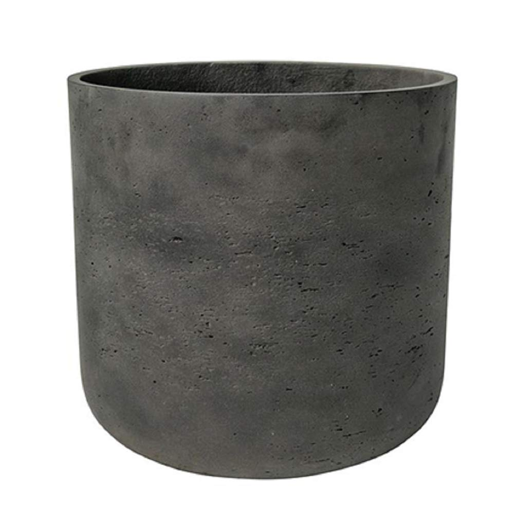 Black Washed Round Bottom Planter - Fiberstone indoor and outdoor Flower Pot 13''H x 12''W - by Pottery Pots