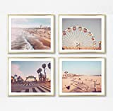 Santa Monica & Venice Beach Photography Photographic Prints, Set of 4, UNFRAMED, ferris wheel, pacific, beach walk, boardwalk art decor poster sign, 8x10 inches