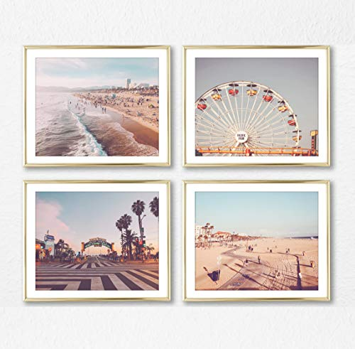Set Venice - Santa Monica & Venice Beach Photography Photographic Prints, Set of 4, UNFRAMED, ferris wheel, pacific, beach walk, boardwalk art decor poster sign, 8x10 inches