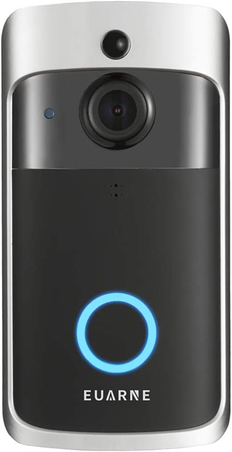 EUARNE WiFi Video Doorbell Wireless Door Security Battery Camera, PIR Motion Detection, Night Vision & Two-Way Audio, Compatible with Alexa & Google Home