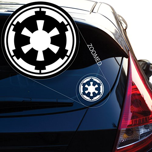 """Galactic Empire Star Wars Emblem Crest Decal Sticker for Car Window, Laptop, Motorcycle, Walls, Mirror and More. # 477 (4"""", White)"""