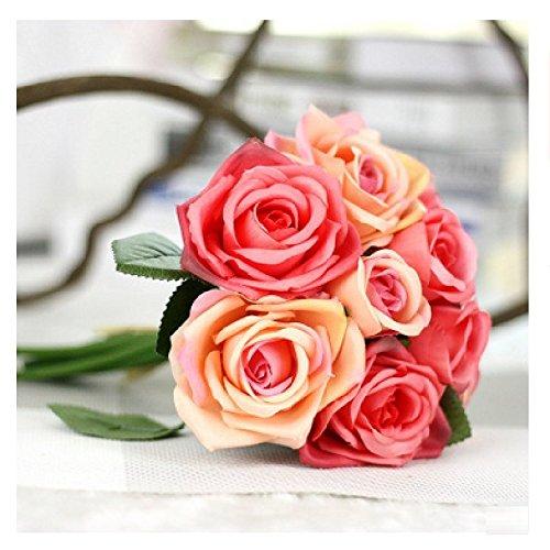 9Pcs/Set Rose Flowers Bouquet Wedding Decoration Thai Royal Rose Upscale Artificial Flowers Faux Silk Flower Roses Home Decor C by Floware