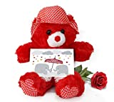 TiedRibbons® Teddy Bear with Artificial Rose and Greeting Card | Wedding Anniversary gifts for Men | Anniversary gifts for Couple | Wedding Anniversary gifts for Women | Marriage Anniversary gifts for Her