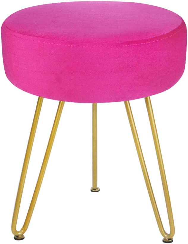 Velvet Footrest Stool Ottoman Round Modern Upholstered Vanity Footstool Side Table Seat Dressing Chair with Golden Metal Leg Magenta