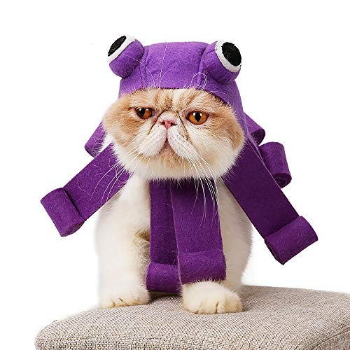 DotPet Cute Octopus Cat Cosplay Hat, Pet Adjustable Halloween Headwear Party Festival Cat Purple Costume Cap with Octopus Shape for Cat Kitty Small Dogs (Purple)]()