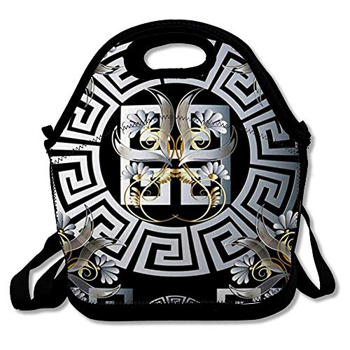 Lunch Bags for Women Men Insulated Labyrinth Silver Ornate Floral Greek Pattern Line Gold Panel Versace Vintage Flowers Abstract Lunch Tote for School or ()