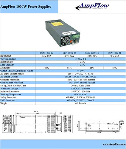42A 24V DC Parallelable Power Supply AmpFlow SCN-1000-24 1000W