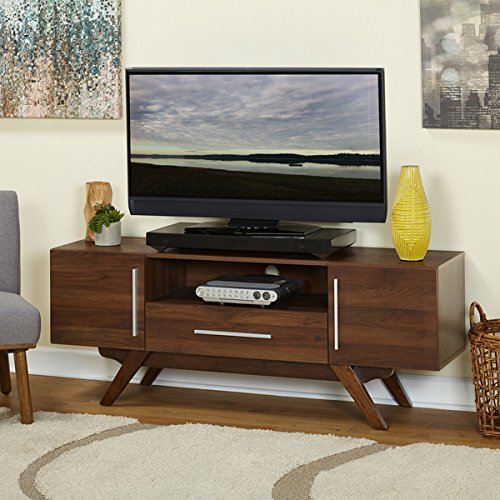 Simple Living Ashfield Mid Century TV Stand Walnut Finish (Collection 64 Inch Tv)
