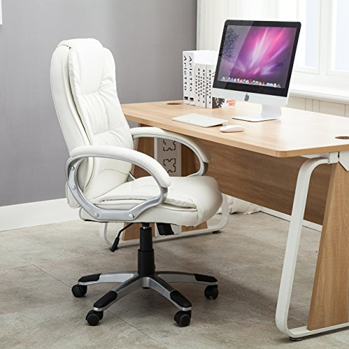 Belleze Ergonomic Office PU Leather Chair Executive Computer Hydraulic, White by Belleze (Image #4)