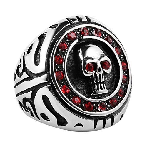 (HZMAN Men's Stainless Steel Silver Gothic Cross Skull Ring Red CZ Eye Vintage Flower Carved Halloween)