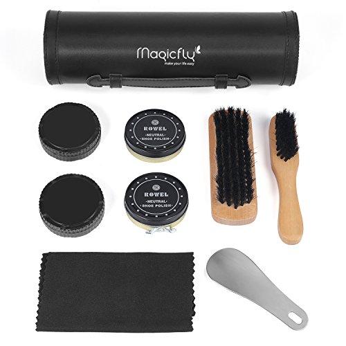 Care Kit Case (Magicfly Shoes Polish Kit-9Pcs Shoe Shine Care kit Neutral with Elegant PU Leather Compact Case)