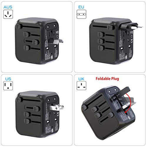Glamfields travel adapter worldwide all in one international power adapter fast wall Charging cover 200+ countries 100V-250V (EU UK USA AU Plug) (3USB+1Type C) (1500W/6A)