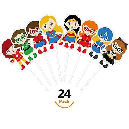 KUDES 24 Pieces Cartoon Superhero Avengers Cupcake Topper Picks for Girls Children Kids Birthday Party Cake Decoration Supplies -