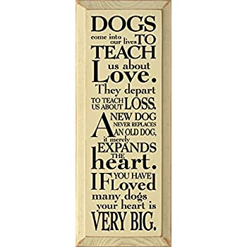 Amazoncom Sawdust City Wooden Sign Dogs Come Into Our Lives To