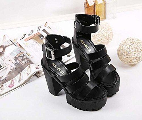 Encantador Clásico Tamaño Zapatos Strap alto Zapatos la grueso Onfly Tacón abierta 39 UE las Bomba Tacón De Plataforma Hueco Sandalias 35 gruesa Club Ankel nocturno Punta Black Roma mujeres de wxBH0gq6B