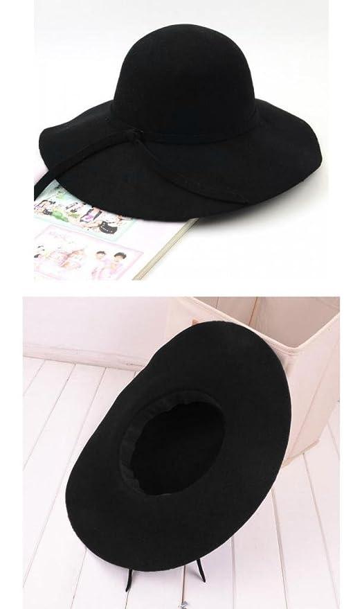c48b7424c098 FUNOC Fashion Vintage Women Ladies Floppy Wide Brim Felt Fedora Cloche Hat  Cap