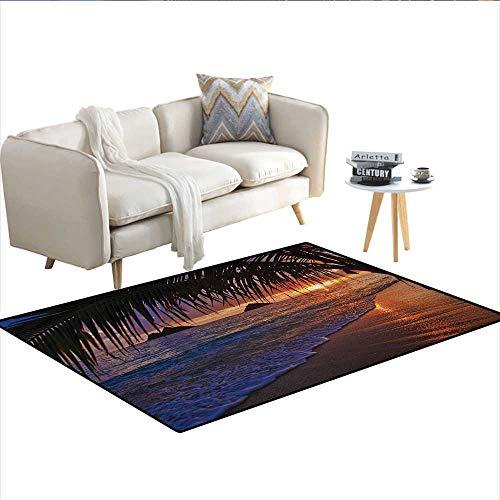 Carpet,Pacific Sunrise at Lanikai Beach Hawaii Sandy Tropics Hills Leaves Landmark,Print Area Rug,Purple BronzeSize:48