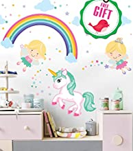 Unicorn Baby Girl Room Décor - Fairy Wall Stickers Childrens for Bedroom, Nursery, Playroom - with Free Gift!