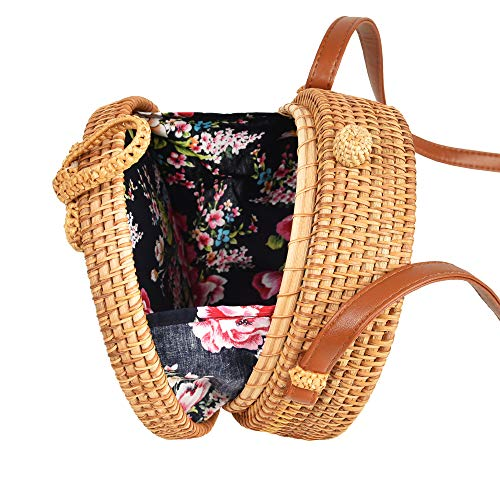 Handwoven Round Rattan Bag Tropical Beach Style with Bow Clasp