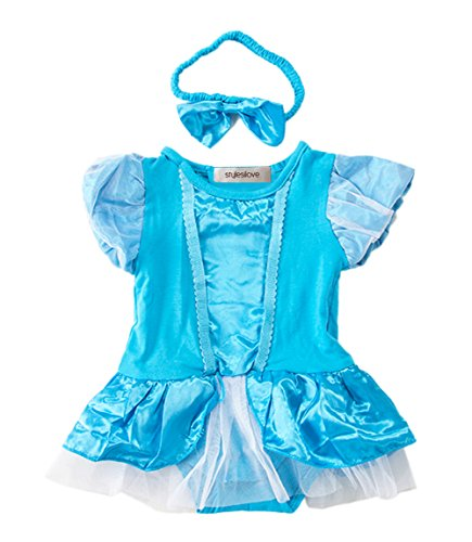 StylesILove Baby Girl Dancer Ballerina Tutu Romper and Headband  (18-24 Months 95, Blue)