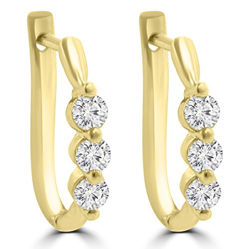 Diamond Tiffany Style Earrings - 1.10 ct Ladies Round Cut Diamond Hoop Huggie Earrings