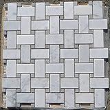 Carrara White Italian Carrera Marble Basketweave Mosaic Tile Gray Dots 1 x 2 Honed