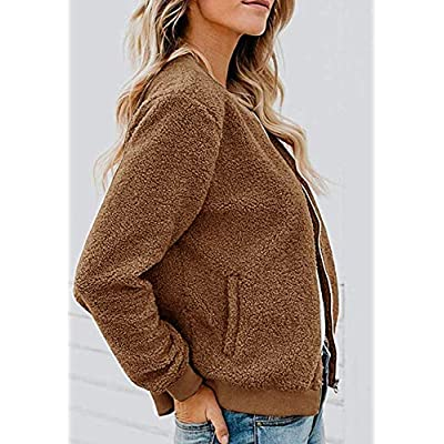 MIROL Women's Sherpa Fleece Jacket Faux Fuzzy Long Sleeve Casual Zip Up Bomber Coat with Pockets at Women's Clothing store