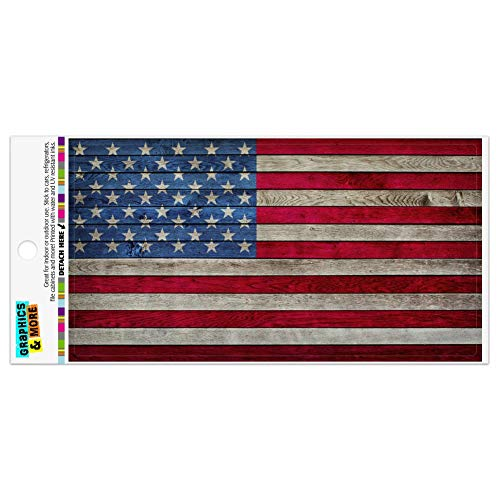 Rustic American Flag Wood Grain Design Automotive Car Refrigerator Locker Vinyl Magnet