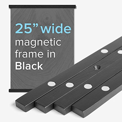 "25"" Wide Magnetic Poster Frame Hanger in Black – Solid Wood and Magnets Strong Enough to Hang ANY Length ($25 Ideas Gift Exchange)"