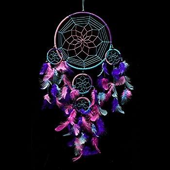 "Caught Dreams Dream Catcher ~ Handmade Traditional Aqua Blue, Pink & Purple 8.5"" Diameter & 24"" Long!"