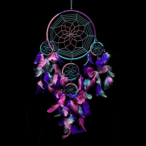 Caught Dreams Dream Catcher ~ Handmade Traditional Aqua Blue, Pink & Purple 8.5