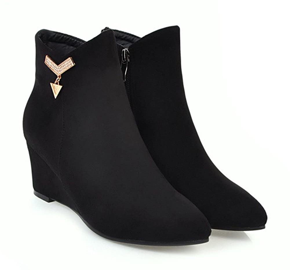 Aisun Damen Klassisch Spitz Zehen Strass Strass Strass Keilabsatz Kurzschaft Chelsea Stiefel Stiefel mit Reißverschluss 5c6fd9