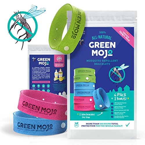 Green-Mojo-100-All-Natural-Mosquito-Repellent-Bracelets--Six-6-Pack-1-Bonus--Multi-Pack-For-More-Than-500-Hours-Total-Protection--DEET-Free--Safe-for-Kids