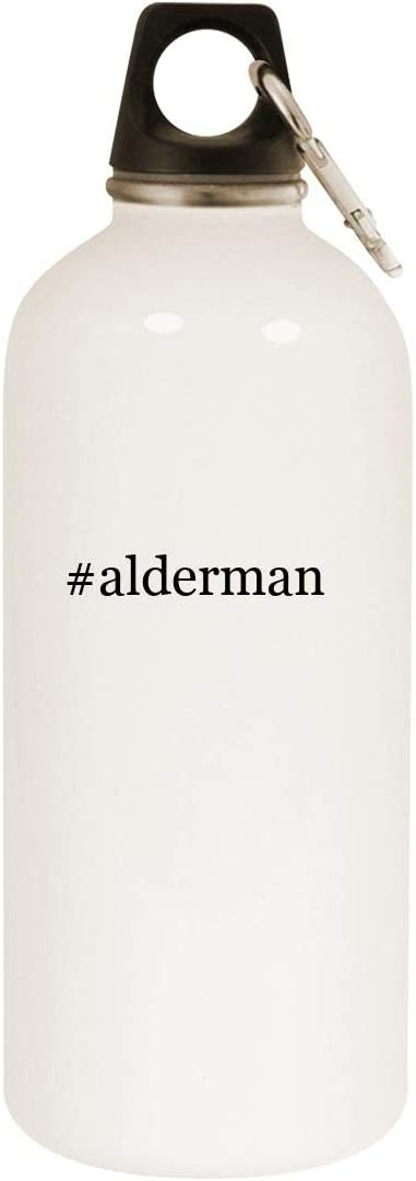 #alderman - 20oz Hashtag Stainless Steel White Water Bottle with Carabiner, White