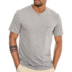 Zackate Men's Legend Wash Short Sleeve V-Neck T-Shirt Minimalist Solid Color Casual Sweatshirts Tee Shirts Gray