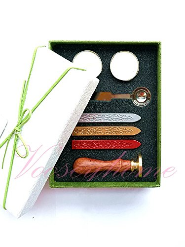 Vooseyhome The Heart & Rose Wax Seal Stamp Gift Kit - Gold/Burgundy/Silver Wax Sticks Tea Candle & Melting Spoon-Gift Set Collection for Birthday, Parties, Weddings, Festival etc