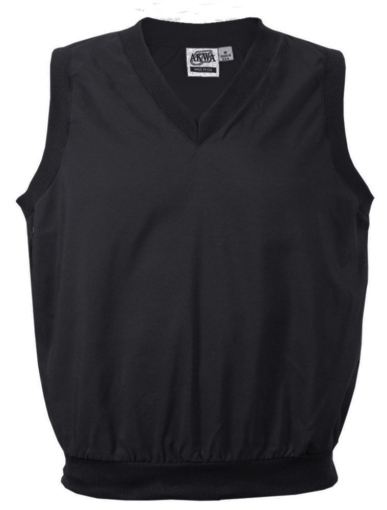 Akwa Made in USA Men's Microfiber Water Repellent V-Neck Pullover Vest Black by Akwa